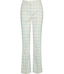 laatta iso ruutu trousers pantalon met rechte pijpen crème marimekko