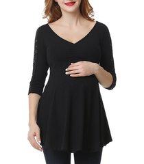 women's kimi and kai aisha empire maternity top, size x-small - black