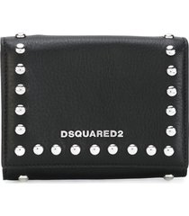 dsquared2 icon snap stud wallet - black
