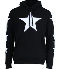 black and white star graphics hoodie jumper