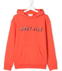 bonpoint teen poppy logo print hoodie - orange