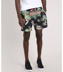 short masculino blueman folhagem tropical preto