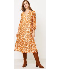 loft animal spotted tiered midi dress