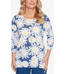 alfred dunner petite lazy daisy printed necklace top
