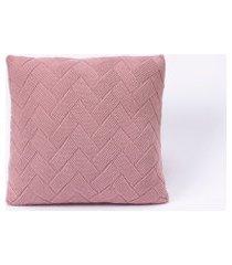 capa de almofada tricot 45x45 c/zíper sofa trico cod 106345 rosê