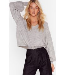 womens warm up to me balloon sleeve sweater - grey