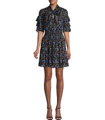 floral-print silk & cotton-blend mini dress