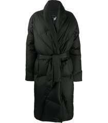 khrisjoy belted padded coat - black