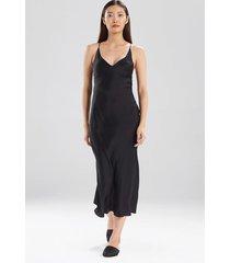 key essentials silk gown with embroidery pajamas / sleepwear / loungewear, women's, black, 100% silk, size xs, josie natori