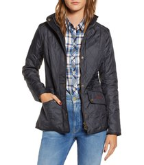 barbour cavalry fleece lined quilted jacket, size 2 us in navy at nordstrom
