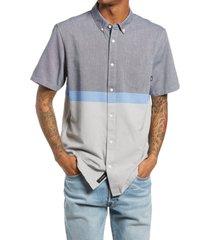 men's vans houser classic fit colorblock short sleeve button-down shirt, size medium - blue