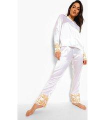 satijnen pyjama set met broek en contrasterende zomen, white
