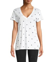 splendid women's embroidered star t-shirt - navy stars - size s