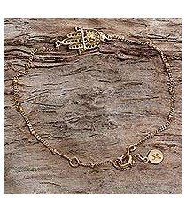 gold plated sterling silver link bracelet, 'gold hamsa' (indonesia)