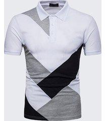 uomo polo slim fit in cotone con patchwork traspirabile in mix colore alla moda