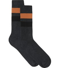 burberry stripe-detail mid-calf socks - grey