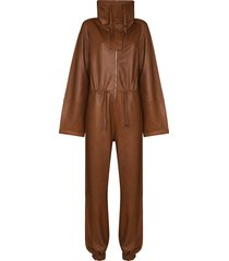 dodo bar or piki leather jumpsuit - brown