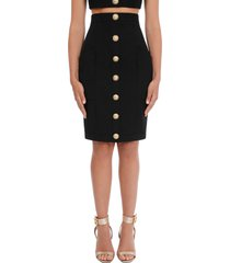 balmain high waist grain de poudre wool pencil skirt, size 4 us in noir at nordstrom
