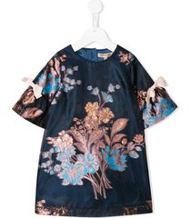 hucklebones london bell sleeve shift dress - blue