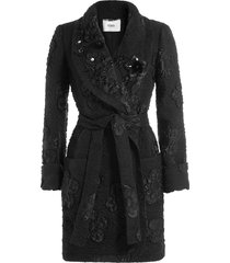 fendi embellished cloqué coat