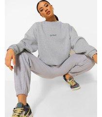 official oversized geborduurde sweater, grey marl
