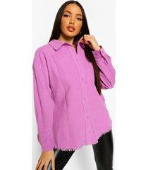 tall oversized corduroy blouse met onbewerkte zoom, purple