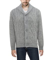 x-ray men's shawl collar cable knit cardigan