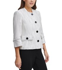karl lagerfeld paris fringe-trim tweed jacket