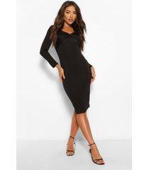 off shoulder cross over mini dress, black