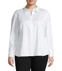 lafayette 148 new york women's plus cotton-blend long-sleeve top - black - size 14w