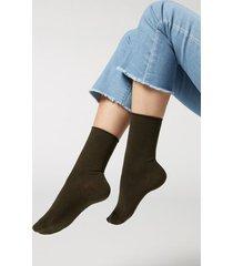 calzedonia non-elastic cotton ankle socks woman green size 36-38