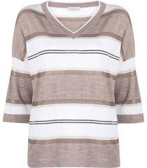 brunello cucinelli horizontal-stripe v-neck cashmere top - neutrals