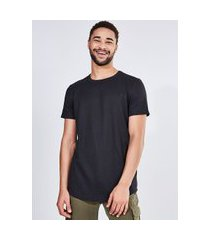 camiseta alongada em malha texturizada