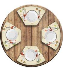 jogo americano   para mesa redonda wevans cute noel  love decor - multicolorido - dafiti