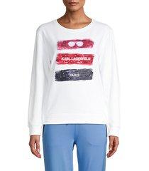 tricolor sequin graphic sweatshirt