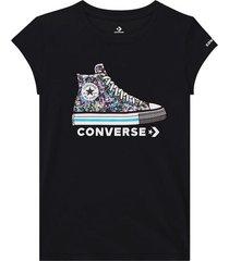 chuck taylor t-shirt met print van strasssteentjes