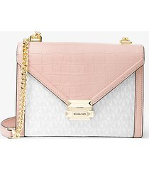 mk borsa a spalla whitney grande convertibile in pelle stampata con logo - rosa tenue (rosa) - michael kors