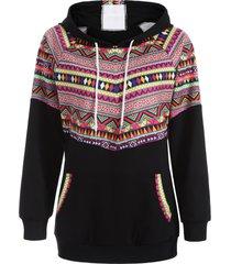 casual raglan sleeve pullover geometric hoodie