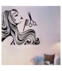 adesivo de parede cabeleireira com tesoura e pente - g 98x98cm