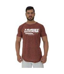 camiseta longline alto conceito muscles please wait nuno marrom