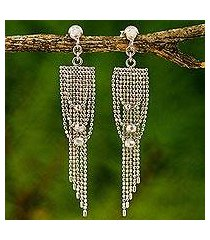sterling silver waterfall earrings, 'noble gowns' (thailand)