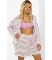 oversized pastel gestreepte linnen look blouse, lilac
