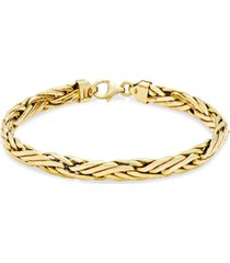 italian gold woven link chain bracelet in 14k gold