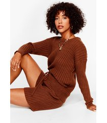 womens knit's all about you sweater and shorts set - chocolate