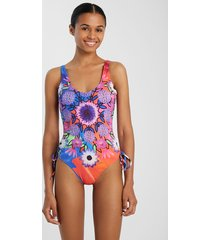 arty floral print swimsuit - red - xl