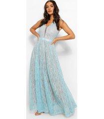 boutique kanten maxi jurk met diepe hals, hemelsblauw