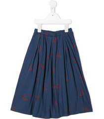 bobo choses umbrella-print midi skater skirt - blue