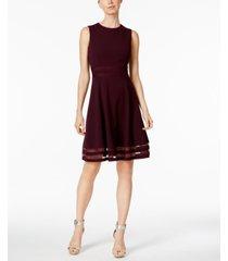calvin klein illusion-trim fit & flare dress, regular & petite