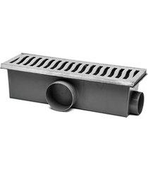 conjunto grelha e caixa coletora elegance 14x48cm alumínio