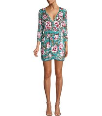 pearl beaded floral wrap dress